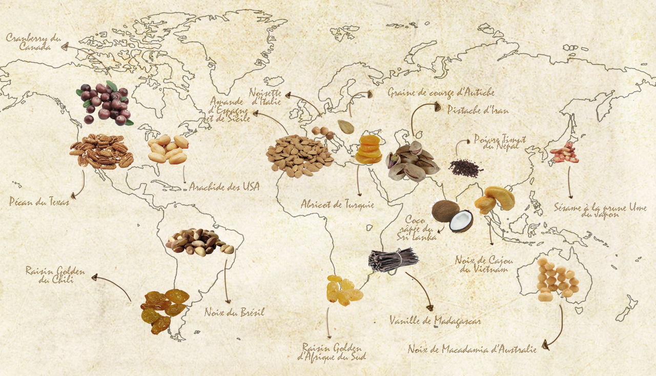 Carte du monde des origines
